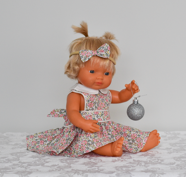 Doll Button Bib Dress + Bow - Delilah