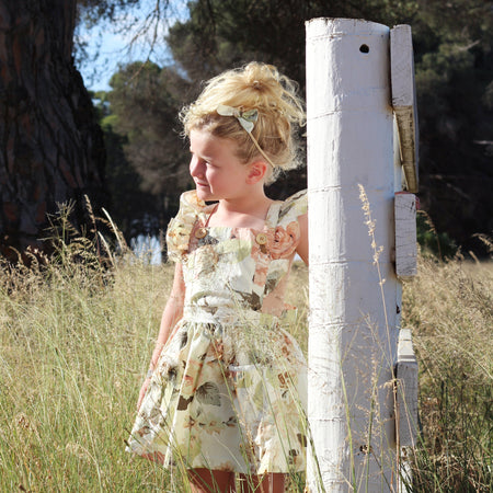 Detachable Flutter Pinny + Headband - Fawn
