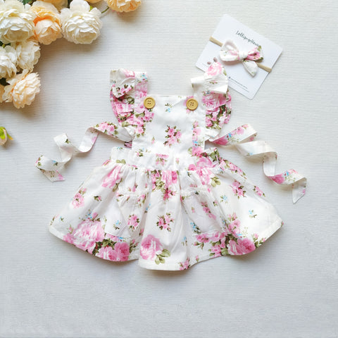 Detachable Flutter Pinny + Headband - Petal