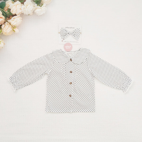 Collared Blouse - Polka Dots + Headband,  - LollipopHouse