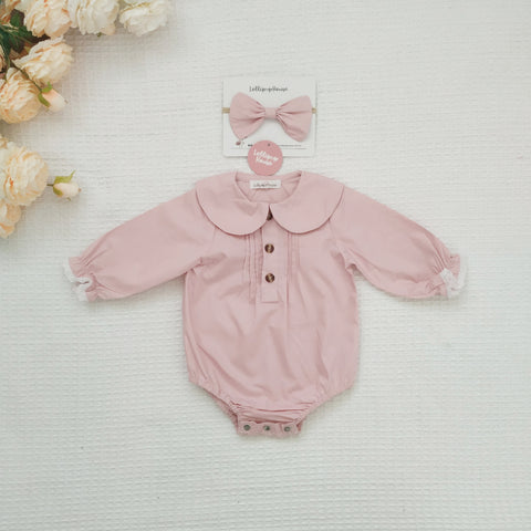 Collared Blouse - Dusty Pink + Headband,  - LollipopHouse
