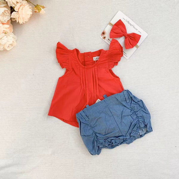 Flutter Top + Bow - Red