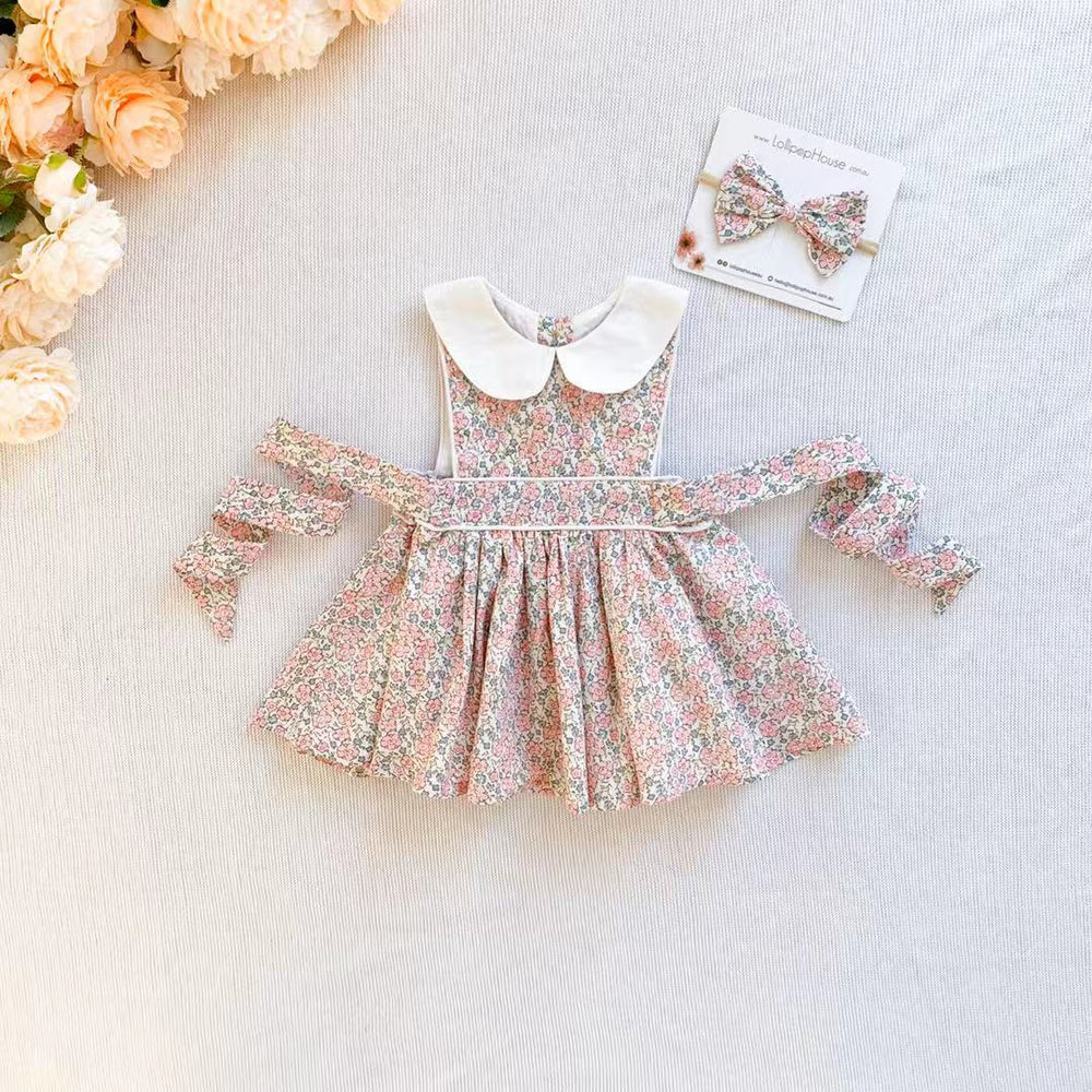 Button Bib Dress + Bow - Delilah