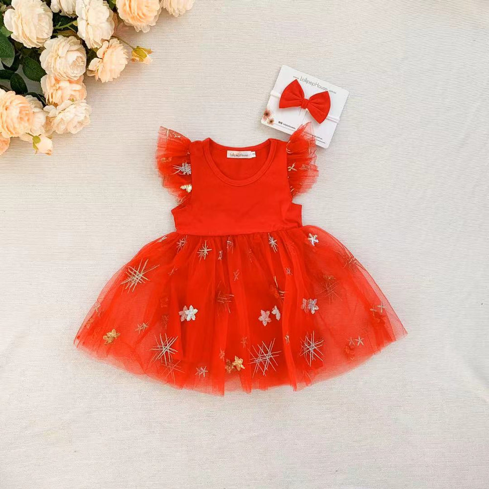 Miracle Dress + Bow - Candy Red