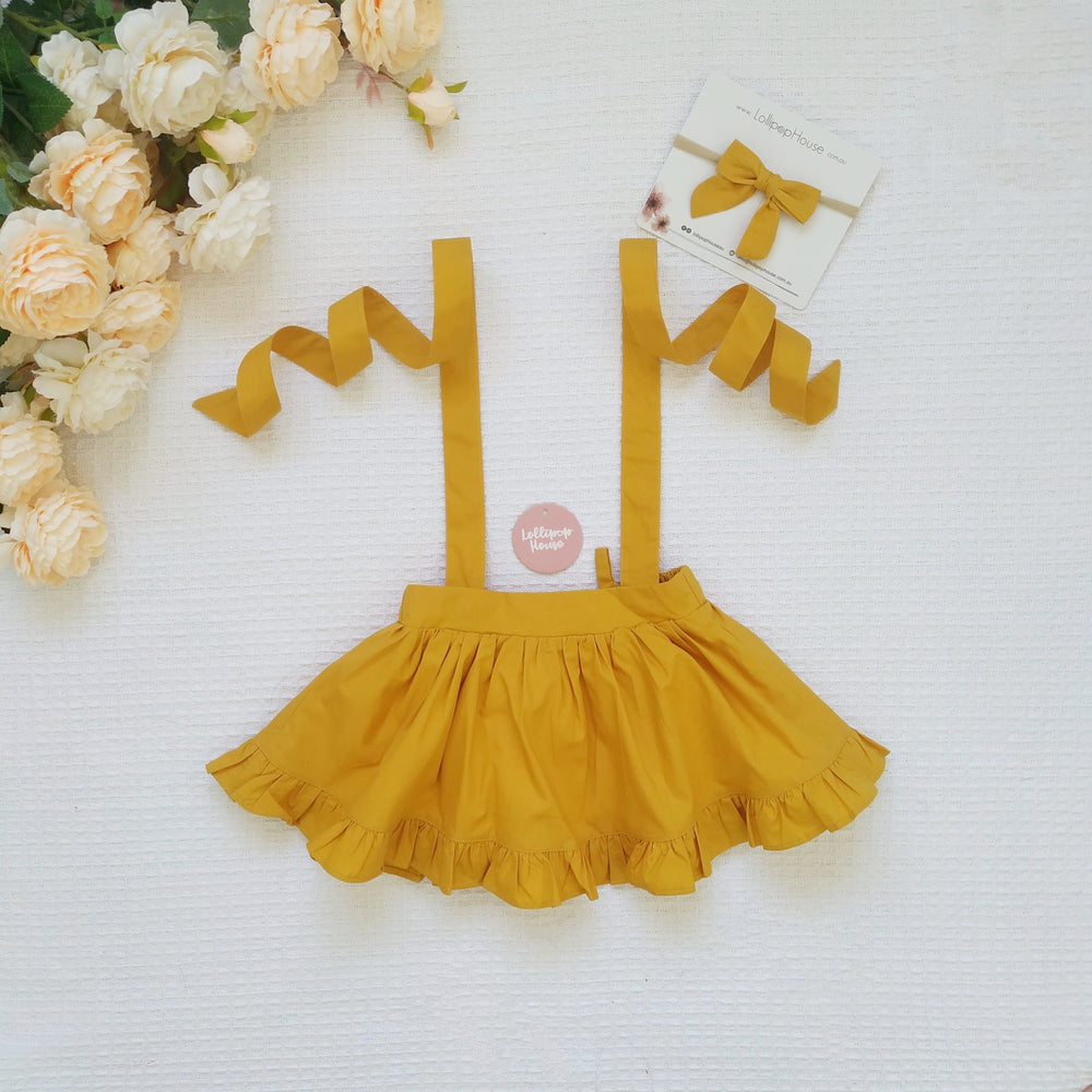 Detachable Ruffle Skirt - Mustard + Headband