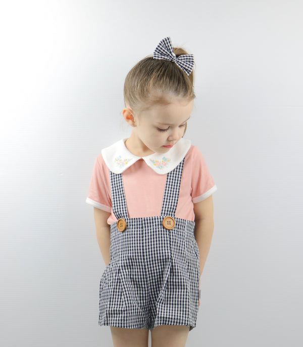 Suspender Pleated Shorts - Gingham