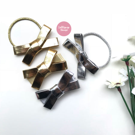 Leather Bow Hair Clip / Hair Tie,  - LollipopHouse