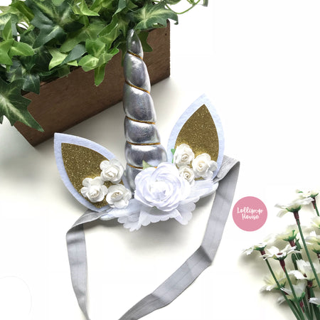 Floral Unicorn Headband - Silver,  - LollipopHouse