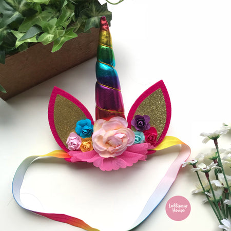 Floral Unicorn Headband - Rainbow,  - LollipopHouse