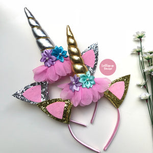 Floral Unicorn Headband - Gold/Silver,  - LollipopHouse