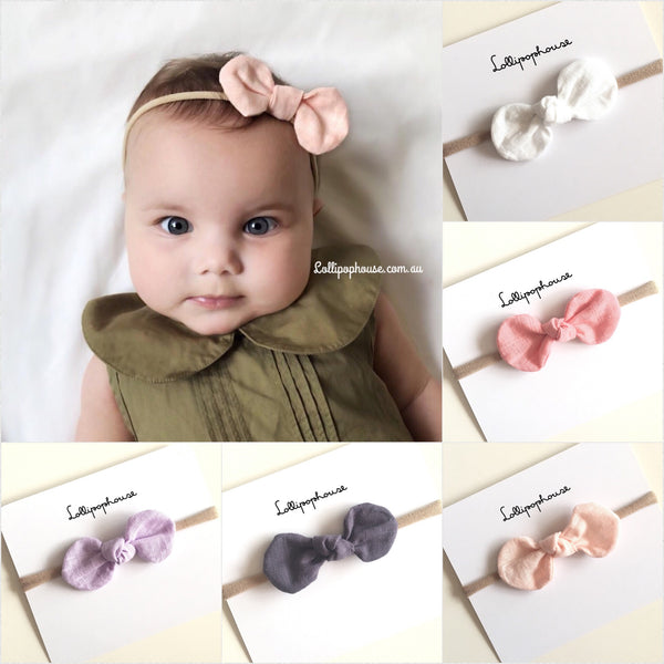 Luca Baby Headband - knotted bows,  - LollipopHouse