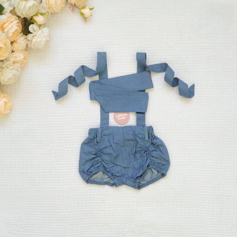 Detachable Pucker Shorts w Belt - Denim,  - LollipopHouse