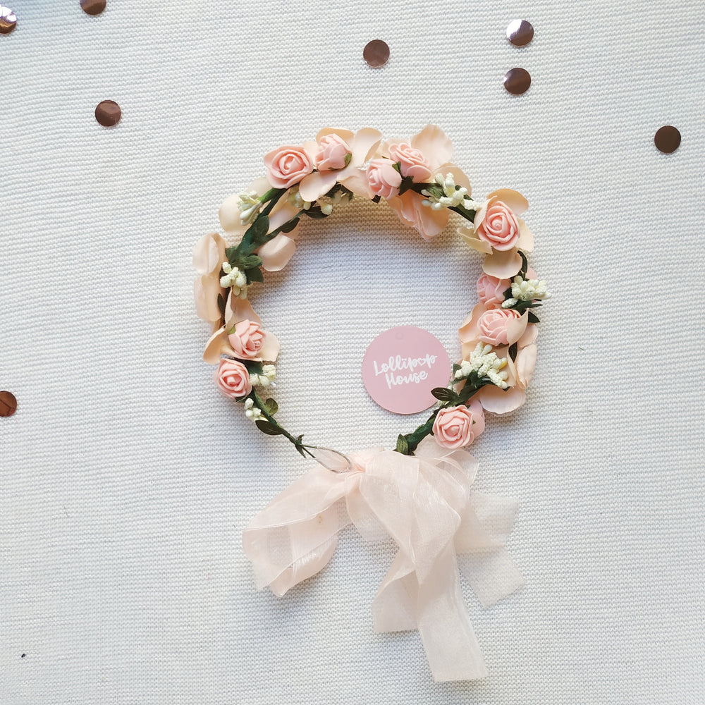 Lightweight Flower Crown - Blush