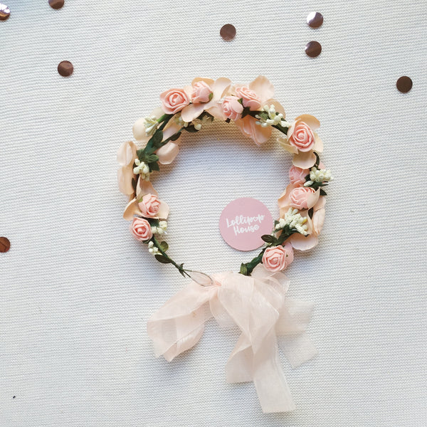 Lightweight Flower Crown - Blush,  - LollipopHouse