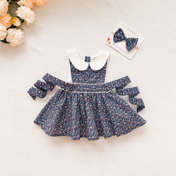 Button Bib Dress + Bow - Ruby