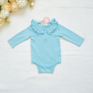 Ruffle Long Sleeve - Maya Blue,  - LollipopHouse