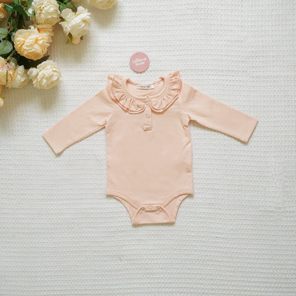 Ruffle Long Sleeve - Peach,  - LollipopHouse