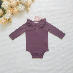 Ruffle Long Sleeve - Plum,  - LollipopHouse