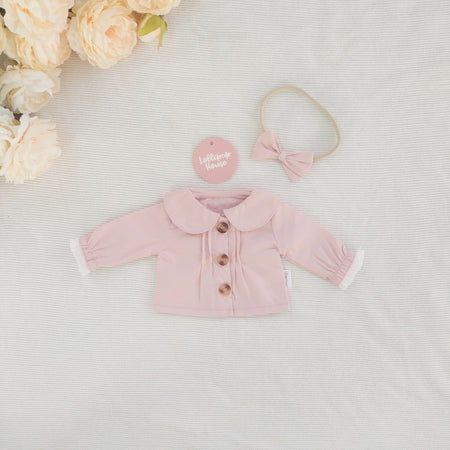 Doll Collared Blouse + Headband - Dusty Pink,  - LollipopHouse