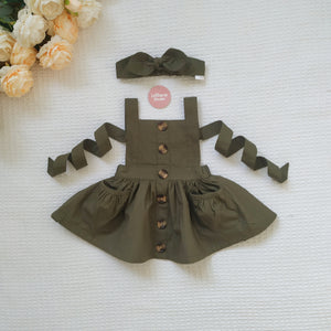 Button Pinny + Top Knot Headwrap - Olive,  - LollipopHouse