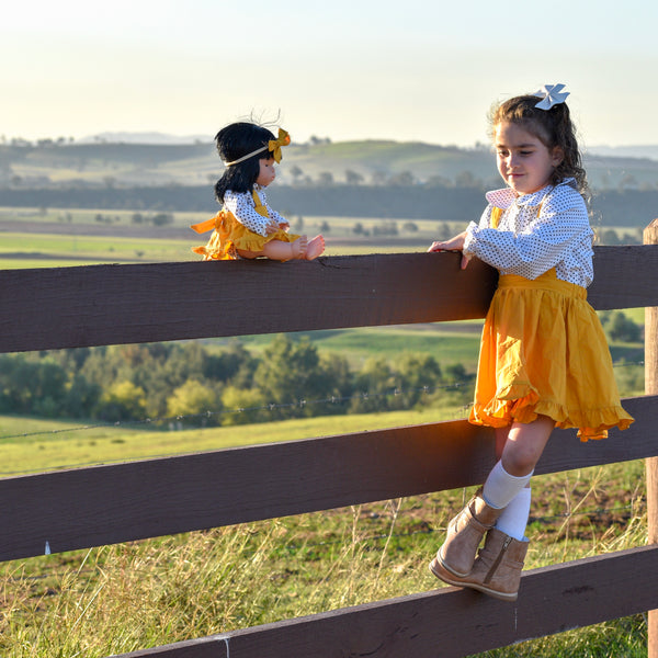 Doll Ruffle Skirt + Headband - Mustard,  - LollipopHouse