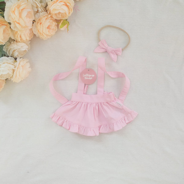 Doll Ruffle Skirt + Headband - Baby Pink,  - LollipopHouse