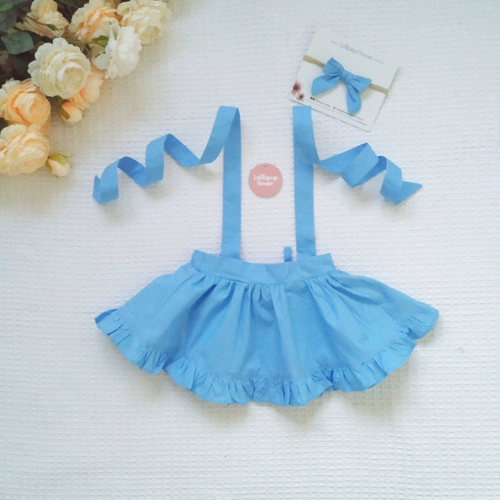 Detachable Ruffle Skirt - Powder Blue + Headband