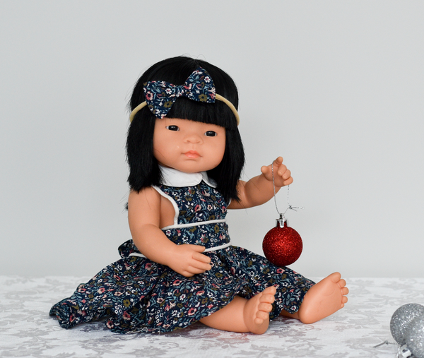 Doll Button Bib Dress + Bow - Ruby
