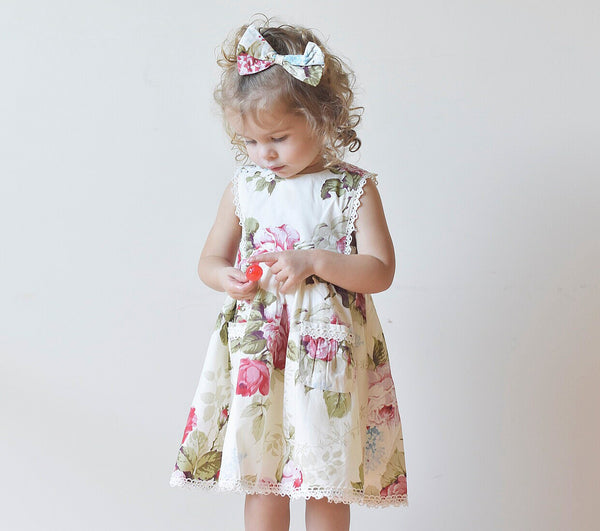Bib Dress + Hair Clip – Dahlia,  - LollipopHouse