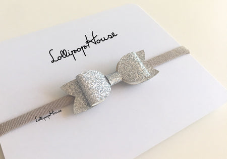 Daisy Baby Headband - Glitter small bow,  - LollipopHouse