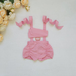 Detachable Pucker Shorts w Belt - Taffy Pink,  - LollipopHouse