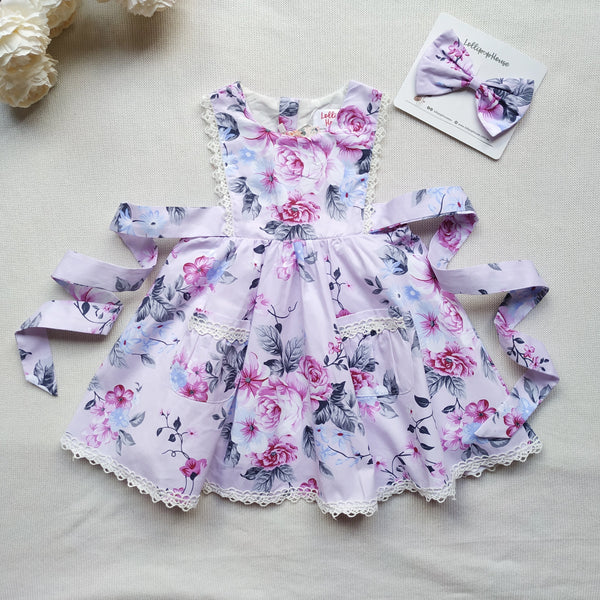 Bib Dress + Hair Clip – Chelsea,  - LollipopHouse