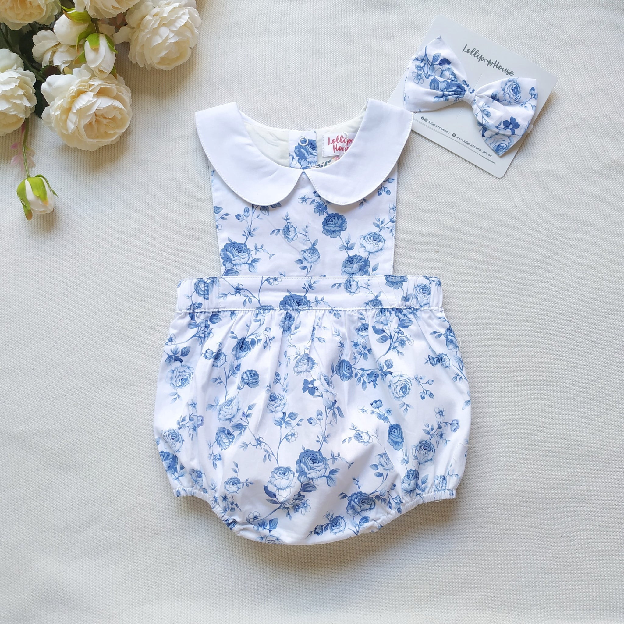 Collar Romper + Headband,  - LollipopHouse