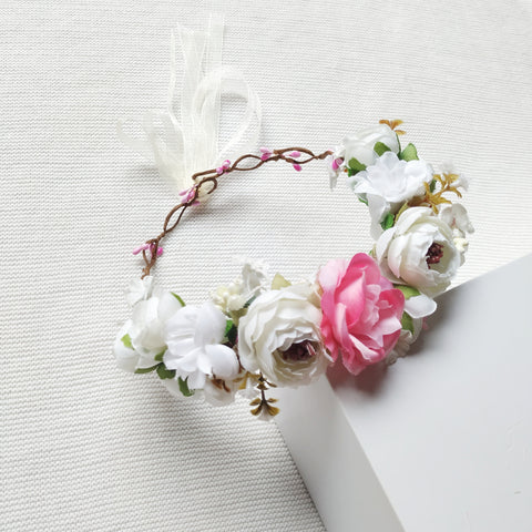 Flower Crown - White Rose,  - LollipopHouse