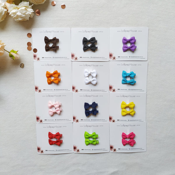 Bow Hair Clips - 12 colors,  - LollipopHouse