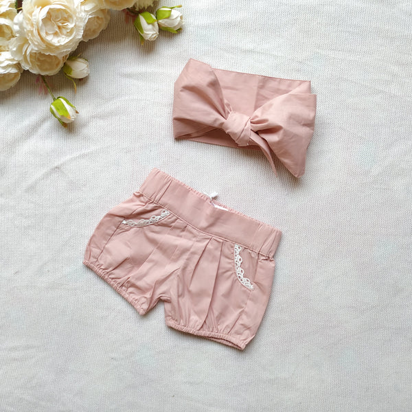 Bubble Shorts + Headwrap - Dusty Pink,  - LollipopHouse