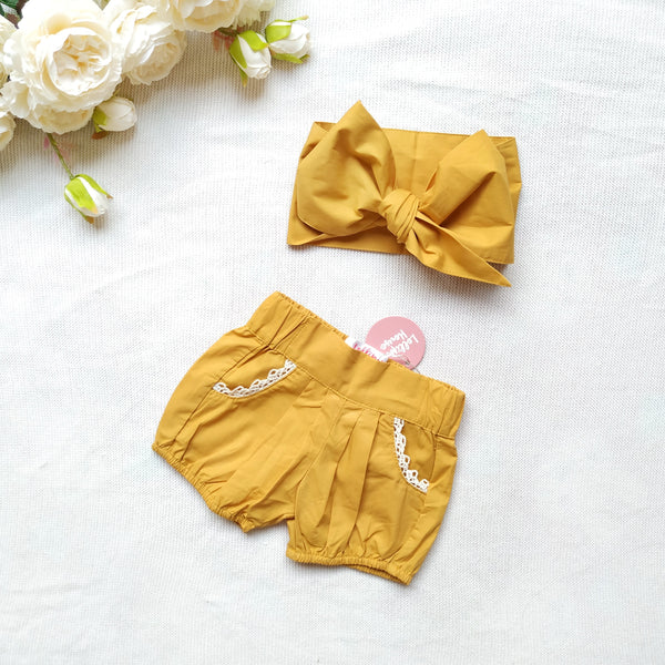 Bubble Shorts + Headwrap - Mustard,  - LollipopHouse
