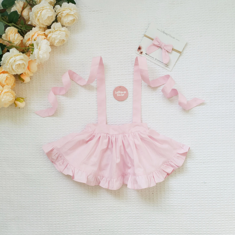 Detachable Ruffle Skirt - Baby Pink + Headband
