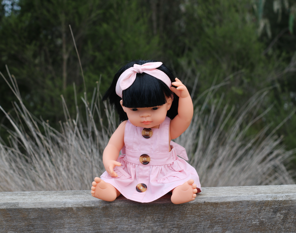 Doll Button Pinny - Pink,  - LollipopHouse