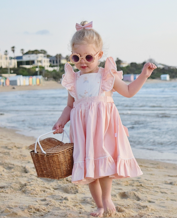 Ruffle Bib Dress + Bow - Peach