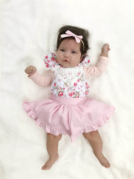 Detachable Ruffle Skirt - Baby Pink + Headband,  - LollipopHouse