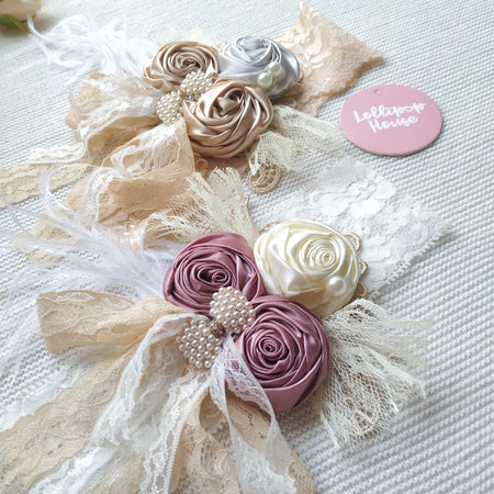 Flower Lace Headwrap - Madeline,  - LollipopHouse