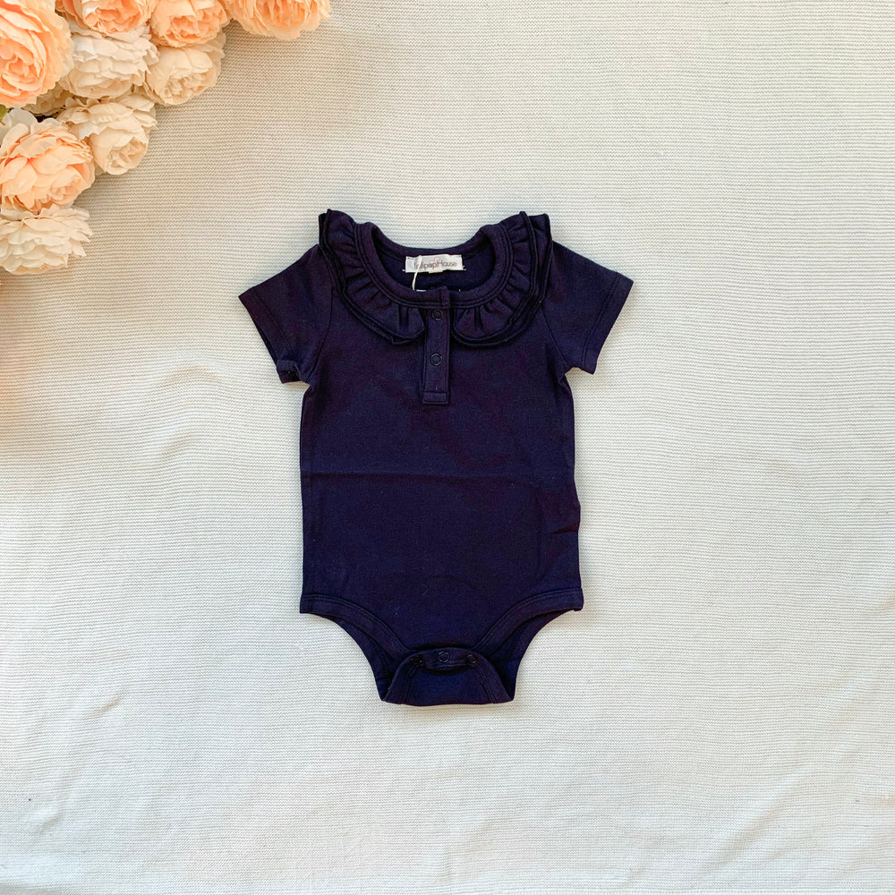 Ruffle Short Sleeve - Navy