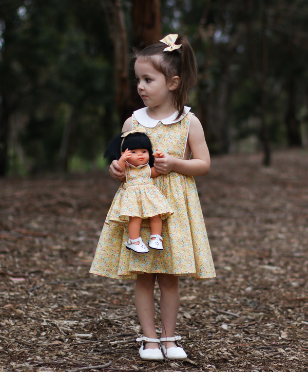 Doll Button Bib Dress + Bow - Skylah