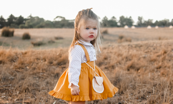 Detachable Ruffle Skirt - Mustard + Headband,  - LollipopHouse