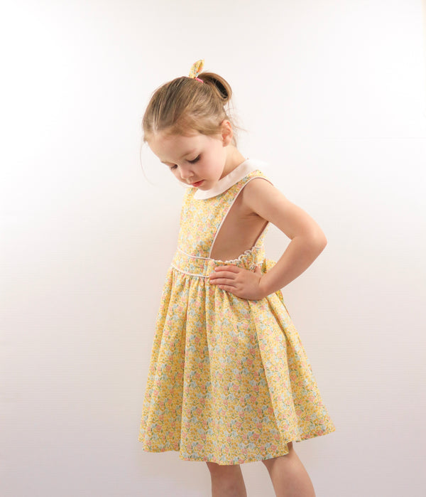 Button Bib Dress + Bow - Skylah