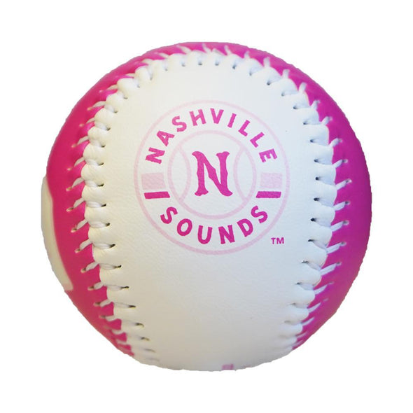 Nashville Sounds Pink & White Primary Logo Baseball