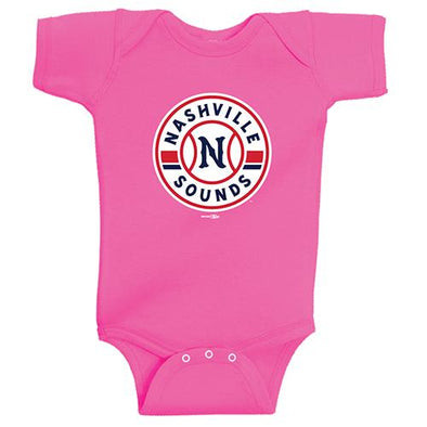 Nashville Sounds Pink Primary Logo Onesie