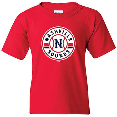 Nashville Sounds Youth Red Primary Logo Tee