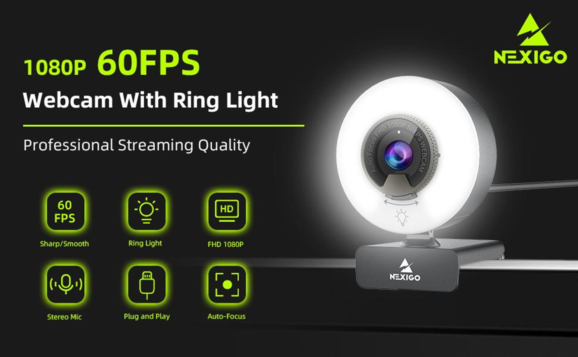 1080p 60fps webcam with ring light